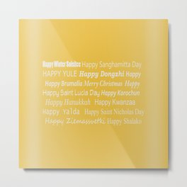 Happy Holidays! in Gold Metal Print