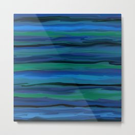 Slate Blue, Aqua, and Onyx Black Stripes Abstract Metal Print