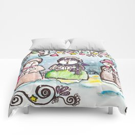 Holiday Snowman Singing Trio Comforters