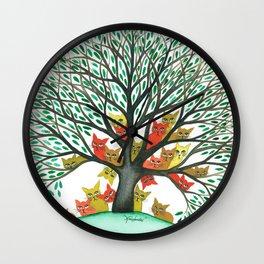 Nebraska Whimsical Cats in Tree Wall Clock
