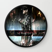 metal gear solid Wall Clocks featuring metal gear solid V  , metal gear solid V  games, metal gear solid V  blanket, by Eirarose