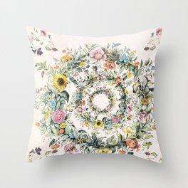Circle of life- floral Throw Pillow