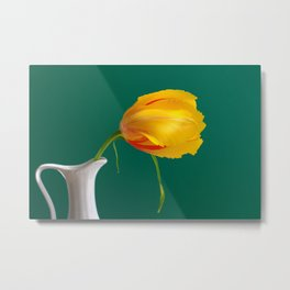 Yellow French Tulip on Green Background Metal Print