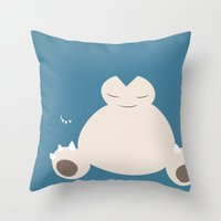 snorlax Throw Pillows featuring Snorlax by Rebekhaart