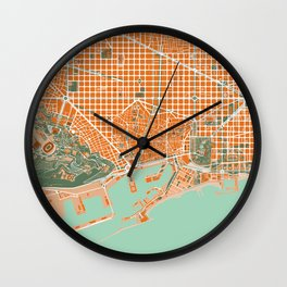 Barcelona city map orange Wall Clock