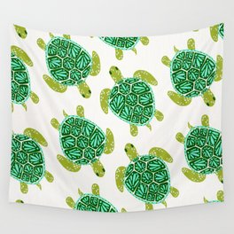 Sea Turtle – Green Palette Wall Tapestry