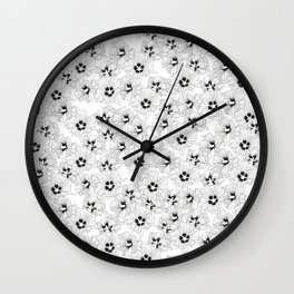 HIBISCUS ROSE: ORIGINAL BLACK AND WHITE PRINT / PATTERN Wall Clock