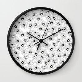 HIBISCUS ROSE: ORIGINAL BLACK AND WHITE PRINT / PATTERN Wall Clock