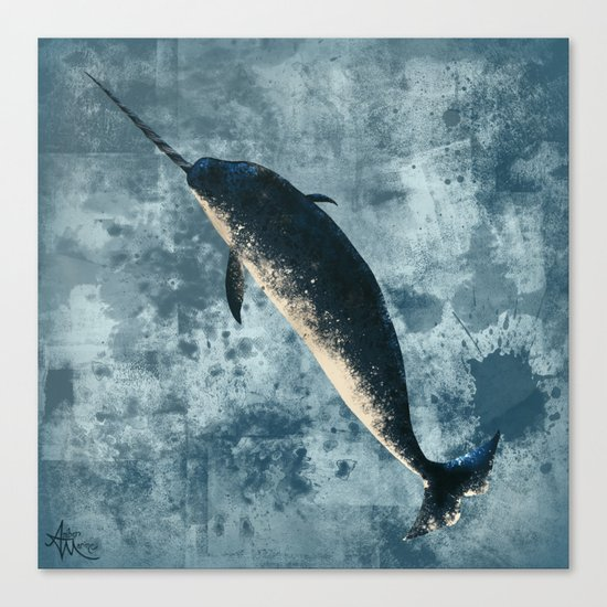 """Jackson the Narwhal"" by Amber Marine ~ Art (c) 2015 Canvas Print"