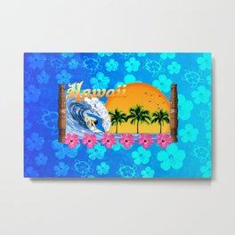 Hawaiian Surfing And Honu Pattern Metal Print