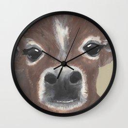 Original Painting - Farmyard Friends - Calf - Cute cow painting Wall Clock