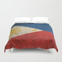philippines Duvet Covers featuring Old and Worn Distressed Vintage Flag of Philippines by Jeff Bartels