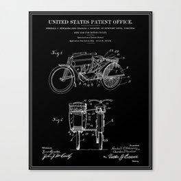 Motorcycle Sidecar Patent 1912 - Black Canvas Print