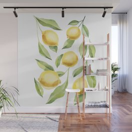 Lemons Watercolour Painting Wall Mural