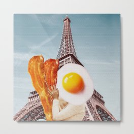Bacon and Eggs - Perfect Couple in Paris - Digital Collage Artwork Metal Print