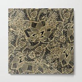Elegant gold black hand drawn floral lace pattern  Metal Print