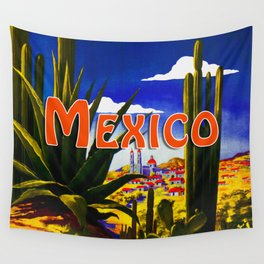 Vintage Mexico Village Travel Wall Tapestry