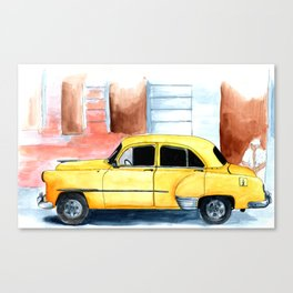 Old yellow car Canvas Print