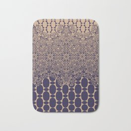 floral border with geo mix monochrome Bath Mat
