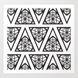 White Chlzd Heart - Design Pattern Art Print