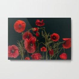 Red Poppies On Black Metal Print