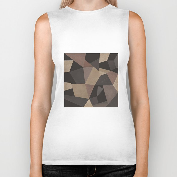 Brown pattern . Leather patches . Biker Tank