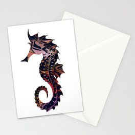 Art seahorse print, tribal motifs, nautical theme Stationery Cards
