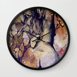 Sugar Coated Sour: Autumn (nude curvy pin up with butterflies) Wall Clock