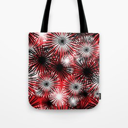 black and white firecracker floral Tote Bag