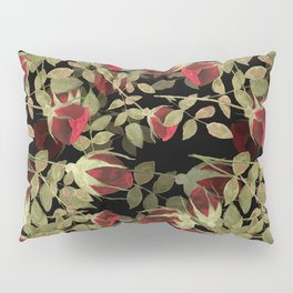 Seamless watercolor roses pattern on black Pillow Sham