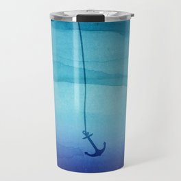 Cute Sinking Anchor in Sea Blue Watercolor Travel Mug