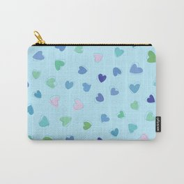 Love, Romance, Hearts - Blue Green Pink Carry-All Pouch