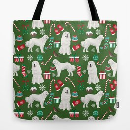 Great Pyrenees christmas festive dog gifts for the dog lover pet friendly pet portraits Tote Bag