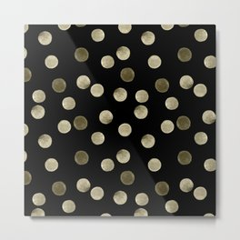 Watercolor . Olive green polka dots on black . Metal Print