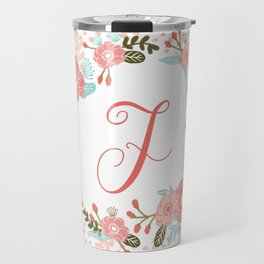 Monogram F - cute girls coral florals flower wreath, coral florals, baby girl, baby blanket Travel Mug