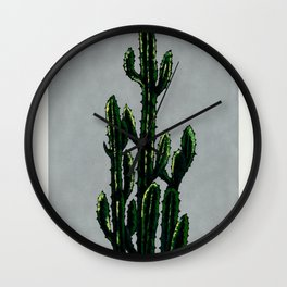 The Cactus on Grey Wall Clock