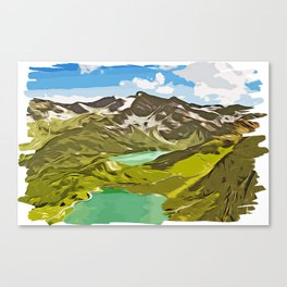 alpine mountain view vector art Canvas Print