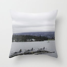 Looking out towards Stanley Park Vancouver Throw Pillow