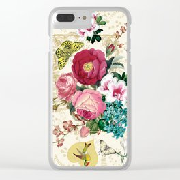Spring Blooming Heart Beige Clear iPhone Case
