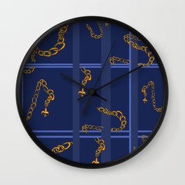 Unchained: Blue + Gold Wall Clock