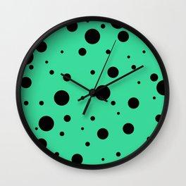 Black Bubbles On Green Wall Clock