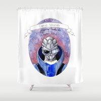 mass effect Shower Curtains featuring Mass Effect: Garrus by Sunol Golden