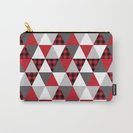 Triangles red and black minimal pattern quilt rustic plaid modern decor cabin nature chalet Carry-All Pouch