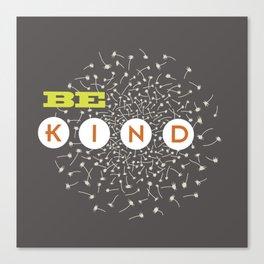 Be Kind (green/orange/warm gray) Canvas Print