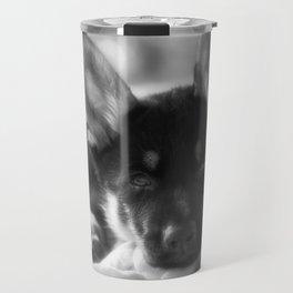 Black white portrait of a shepherd puppy. Travel Mug