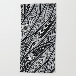 Vintage Hawaiian Tribal Floral Tattoo Tapa Print Beach Towel