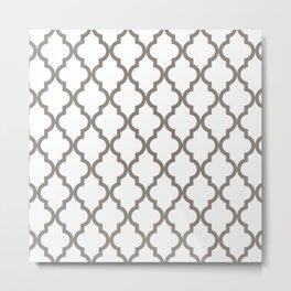 Moroccan Quatrefoil Pattern: Neutral Brown Metal Print