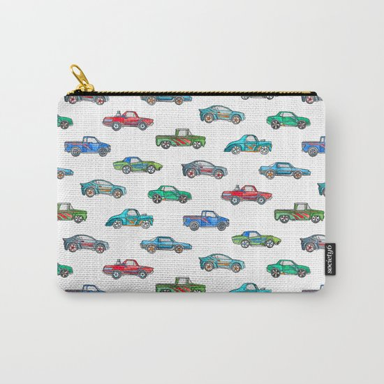 Little Toy Cars in Watercolor on White Carry-All Pouch