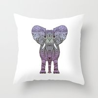 ornate elephant Throw Pillows featuring ELEPHANt by Monika Strigel
