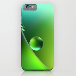 drops of dew on a green leaf iPhone Case